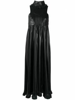 Paco Rabanne платье из искусственной кожи с оборками 2HCR0276PU0010