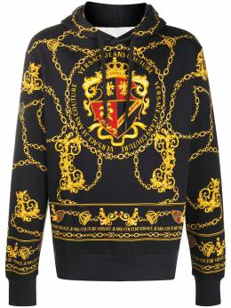 Versace Jeans Couture chain-link print cotton hoodie EB7GZB7KGE30328