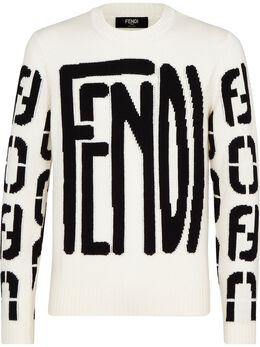 Fendi джемпер с круглым вырезом и логотипом FZY111ADU6