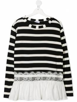 Monnalisa lace-trimmed striped T-shirt 1766056209