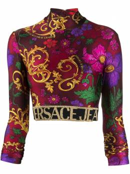 Versace Jeans Couture baroque print cropped blouse B2HZB712S0863