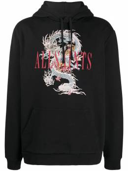 Allsaints logo embroidered hoodie DNAMF022T
