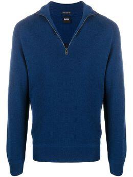 Boss by Hugo Boss свитер в рубчик с воротником на молнии 50434619