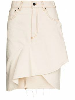 Off-White ruffle-hem denim skirt OWCC118G20FAB0010300