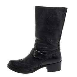 Miu Miu Black Brogue Leather Buckle Detail Mid Calf Boots Size 38.5 348973