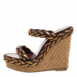 Christian Louboutin Two Tone Braided Leather And Suede Espadrille Wedge Platform Sandals Size 38 348981