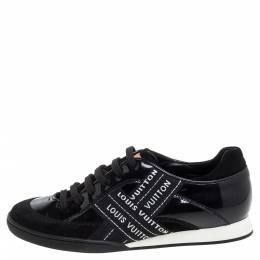 Louis Vuitton Black Patent And Suede Leather Low Top Sneakers Size 35 348943