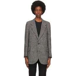 Ami Alexandre Mattiussi Black and White Wool Two-Button Short Coat H20FM203.228