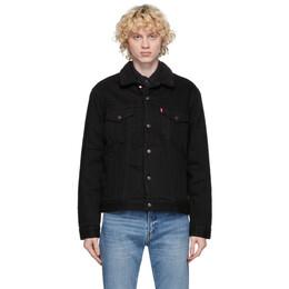 Levi's Black Denim Sherpa Trucker Jacket 16365-0100