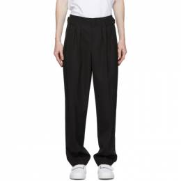 Maison Kitsune Black Wool Pleated Trousers FU01104WT0011