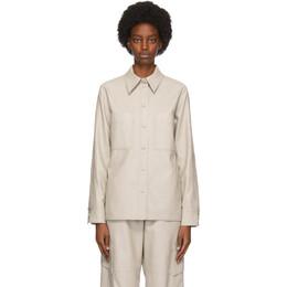 Stella McCartney Grey Faux-Leather Hattie Shirt 602418SKB20