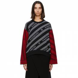 Givenchy Black and Red Wool Chain Sweater BW90BG4Z7J
