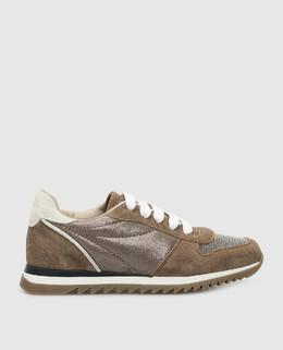 Детские темно-бежевые кроссовки Brunello Cucinelli 2300006289354
