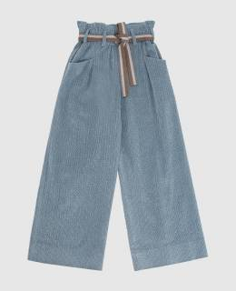 Детские голубые брюки Brunello Cucinelli 2300006302527