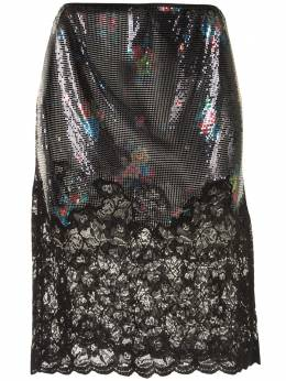 Paco Rabanne lace-trimmed chainmail skirt 20AXJU055MH0106