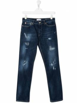 Dondup Kids ripped straight-leg jeans YP328DS0107GAU6