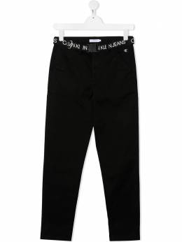 Calvin Klein Kids TEEN logo belt tapered trousers IB0IB00518