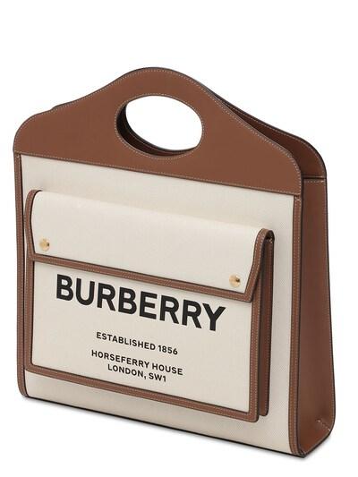 Сумка Из Кожи И Канвас С Логотипом Burberry 73ID1H028-QTEzOTU1 - 2