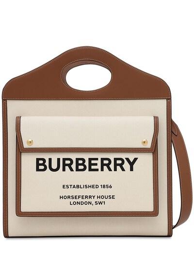 Сумка Из Кожи И Канвас С Логотипом Burberry 73ID1H028-QTEzOTU1 - 4
