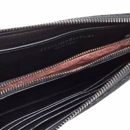 Stella McCartney Black Faux Leather Falabella Zip Wallet 349512