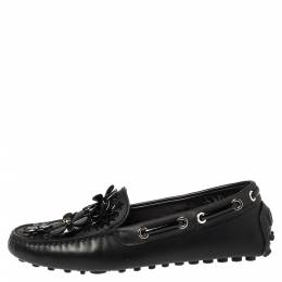 Dior Black Leather Drive Me Floral Embellished Loafers Size 35 347571