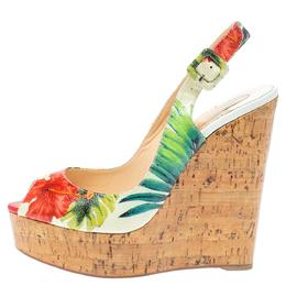 Christian Louboutin Multicolor Floral Print Patent Leather Une Plume Cork Slingback Sandals Size 37 349104