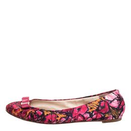 Carolina Herrera Pink Floral Print Bow Ballet Flats Size 39 349631