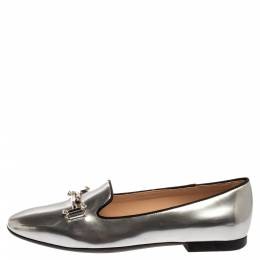 Tod's Metallic Silver Leather Double T Slip On Loafers Size 37 349541