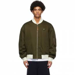 Loewe Khaki and Off-White Cotton Insulated Bomber Jacket H526338W01