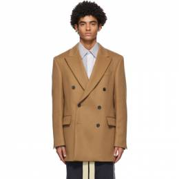 Loewe Tan Wool and Cashmere Double-Breasted Blazer H526330X63