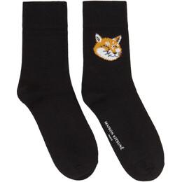 Maison Kitsune Black Fox Head Socks EU06403KT0044