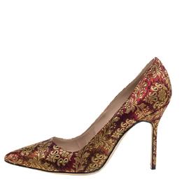 Manolo Blahnik Brocade Fabric Pointed Toe Pumps Size 37 350608