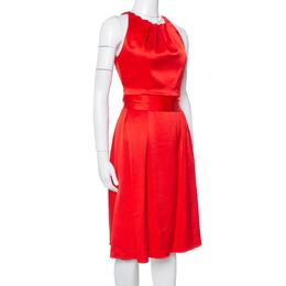 Celine Red Satin Open Back Bow Tie Waist Dress S 349646