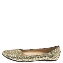 Roberto Cavalli Gold Glitter Slip On Loafers Size 41 347486