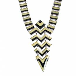 Missoni Enamel Silver Tone Geometric Shaped Long Necklace 348908
