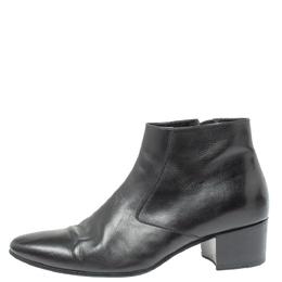 Saint Laurent Black Leather Western Ankle Boots Size 41 350501