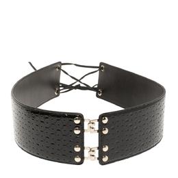 Yves Saint Laurent Black Patent Leather Waist Belt M 350364