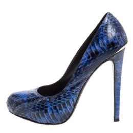 Roberto Cavalli Blue/Black Python Embossed Leather Platform Pumps Size 37 350231