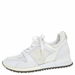 Louis Vuitton White Mesh, Leather and Patent Leather Run Away Lace Up Sneakers Size 37 349444