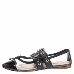 Miu Miu Black Patent Leather And PVC Buckled Strap Bow Ballet Flats Size 36 349589
