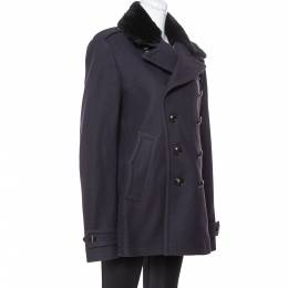 Burberry Navy Blue Wool Shearling Collar Double Breasted Coat XL 349637