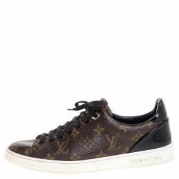 Louis Vuitton Monogram Canvas and Black Patent Leather Frontrow Low Top Sneakers Size 39 349837