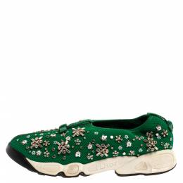Dior Green Embellished Mesh Fusion Low Top Sneakers 38.5 350324