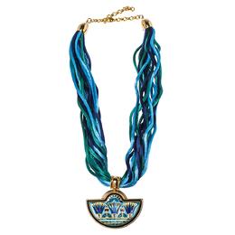 Frey Wille Blue Halfmoon Fire Enamel Pendant Multi Strand Silk Necklace 349089