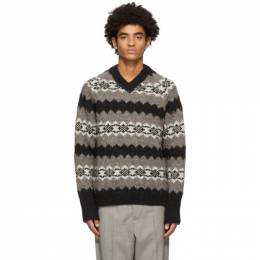 Our Legacy Taupe and Black Wool Greenland Stripe V-Neck Sweater M4203RG