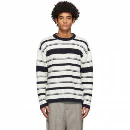 Our Legacy White and Navy Wool Sonar Sweater M4203SW