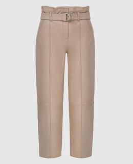 Бежевые кожаные брюки Yves Salomon 2300006394416