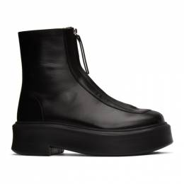 The Row Black Zip Ankle Boots F1144-L64R