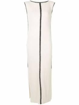 Jil Sander платье в рубчик с контрастной строчкой JSPQ752050WQY28028