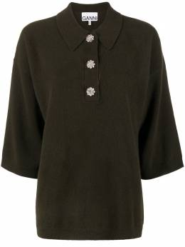 Ganni трикотажная блузка с пуговицами в виде цветов K1410